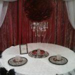 Decor Table setup Red black backdrop