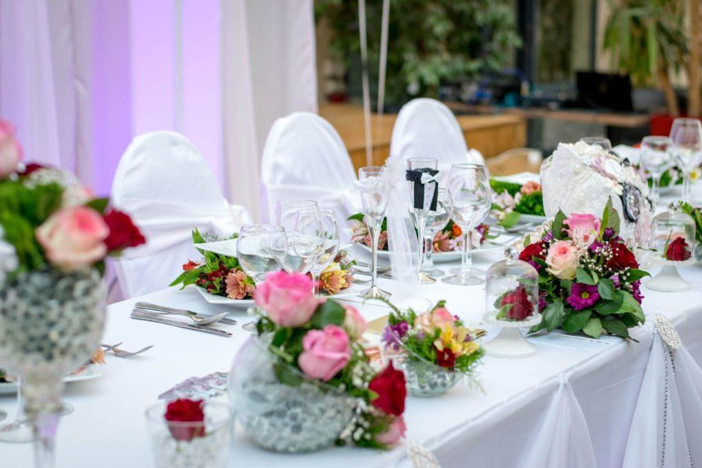 wedding reception banquet table decor wine and blush