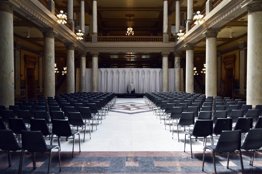ceremony indoor simple backdrop